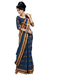 Blue Color Cotton Blend Saree By Roop Kashish ( Genilia )