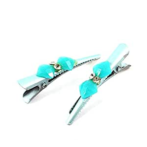 Plastic Faceted Crystal Detail Hairclip Alligator Hair Clip Pair Blue