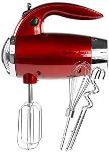Andrew James Powerful 300 Watt Premium Metallic Red Hand Mixer With 2 Year Warranty - Includes Stainless Steel Beaters, Dough Hooks And Balloon Whisk, Turbo Function, Six Speeds And A Vinyl Storage Bag