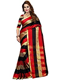 Ishin Poly Cotton Red & Black Golden Zari Stipes Woven Bollywood Women's Saree.