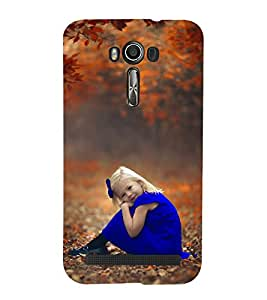 99Sublimation Beautiful Girl in Blue Frock and Ribbon 3D Hard Polycarbonate Back Case Cover for Asus Zenfone 2 Laser ZE550KL