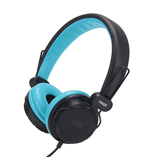 Kids Headphones with Microphone On-Ear Headset Made for iPhone, iPod, iPad, Samsung, HTC, LG and More (NT-H3 Teal Black) (Phone Kids compare prices)