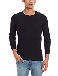 Celio Men's Cotton Blend Sweater (3596654128735_Cepicoaw15_Small_Navy)