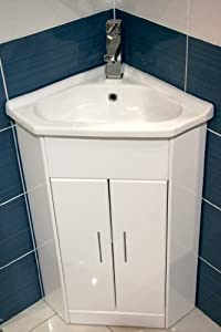 E plumb meuble de salle de bain d 39 angle compact mini - Meuble d angle lavabo ...