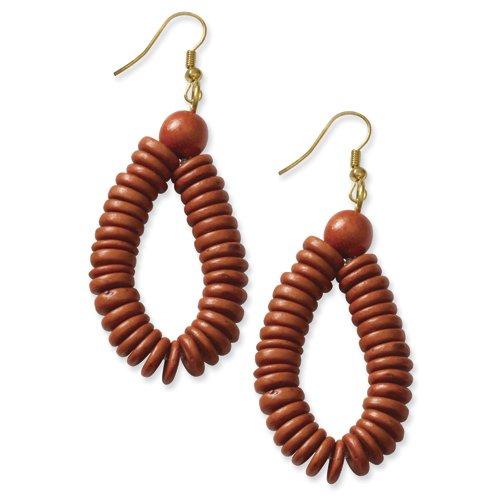 Gold-Tone Orange Coconut & Natural Wood 3in Dangle Earrings