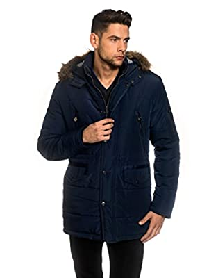 VB Men's Winter Coat with stand-up Collar, Hood, detachable fake fur, waist drawstring