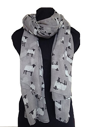 Grigio pecora progetto lunga sciarpa, morbido donna moda London (Grey sheep design long sciarpa, Soft Ladies Fashion London)