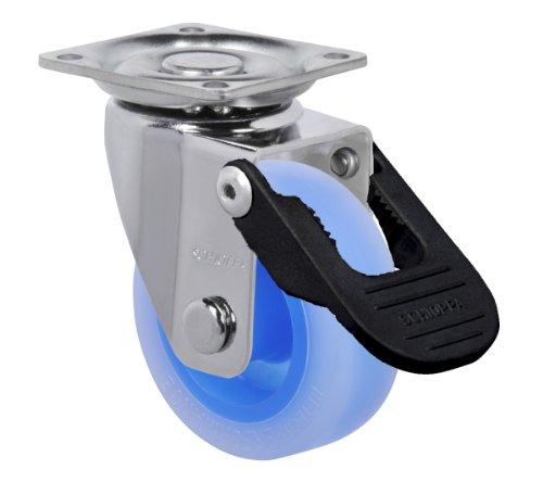 "Schioppa, Glap 210 Citrus Blue Fpi, 2"" (50 Mm) Swivel, Brake, Non-Marking Polyethylene Wheel, 90 Lbs, Plate: 1-21/32 X 1-21/32"" (Bh 1-1/4 X 1-1/4"") front-537191"