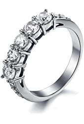 MoAndy Stainless Steel Women's Cubic Zirconia Princess Round Cut Engagement Bridal Wedding Ring