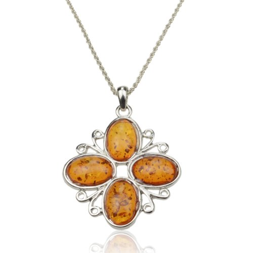Women's Cute Flower Baltic Silver Faux Amber Gem Vintage Style Necklace Pendant B2926K