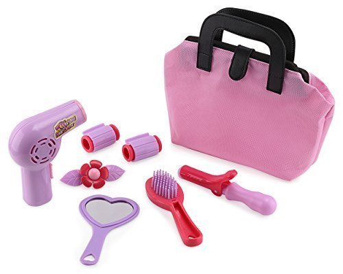 Click N' Play Set of 8 Kids Pretend Play Beauty Salon Fashion Play Set with Hairdryer, Curling Iron, Mirror & Hair Styling Accessories with a Beauty Tote Bag