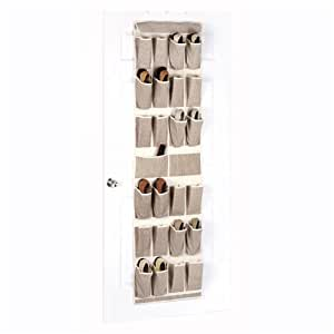 Whitmor 6230-142-SP Soft Storage Over-the-Door Shoe Organizer, Cappuccino
