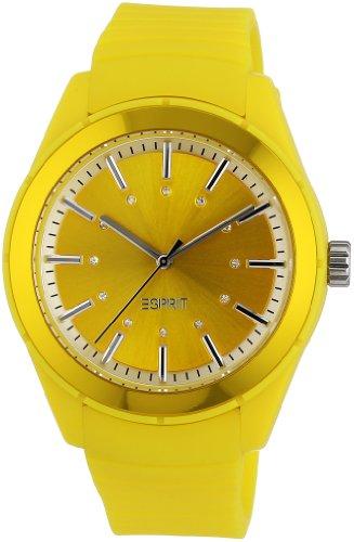 Esprit play A.ES900642012 - Reloj analógico de cuarzo unisex, correa de silicona color amarillo