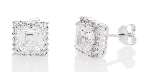 Silver Halo Style Asscher Cut with Round Side Cubic Zirconia Earrings (6 Millimeters)