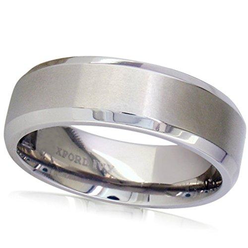 7mm Beveled Edge Comfort Fit Titanium Plain Wedding Band ( Available Ring Sizes 7-12 1/2) sz7