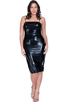 Nyteez Women's Plus Size Black Rubber Look Dress (3X)