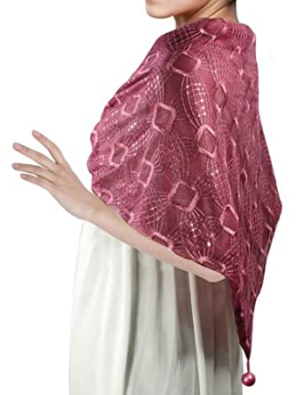 Embroidered Square Shiny Sequins Dangle Balls Triangle Scarf Shawl - Burgundy