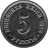 5 Pfennig Imperio Alemán, 1914 A (Jäger: 12) MBC