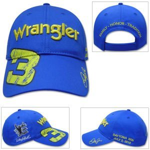 Dale Earnhardt Jr (With Dale Sr Graphic) #3 Wrangler Blue & Yellow Hat Cap... by Chase Authentics