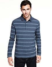 Pure Cotton Marl Striped Polo Shirt