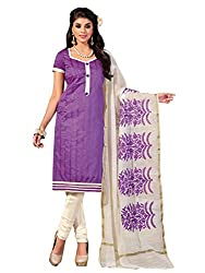 Manvaa Purple Banarasi Chanderi Embroidered Dress Material With Fancy Dupatta