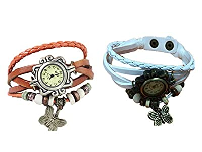 2pcs/Pack Cutebox Girls quartz Multi-strand Synthetic Leather Wrist Watches