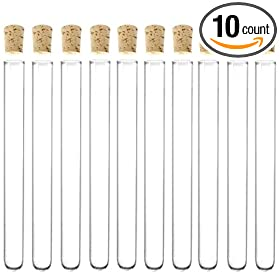 10 Pack - 6-inch, 16x150mm Glass Test Tubes with Cork Stoppers