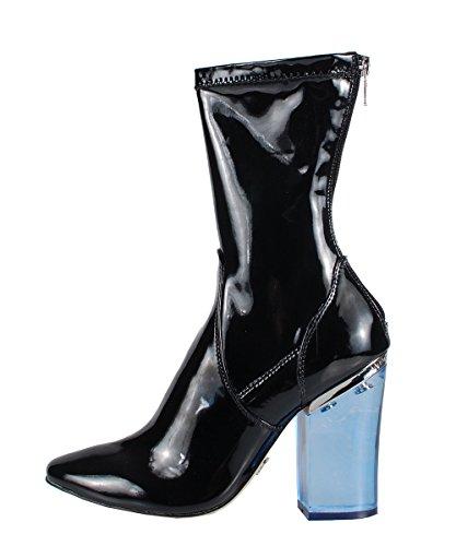 Windsor Smith Vinyl Black Patent Boots - Stivaletti Neri In Vernice Tacco Trasparente Blu