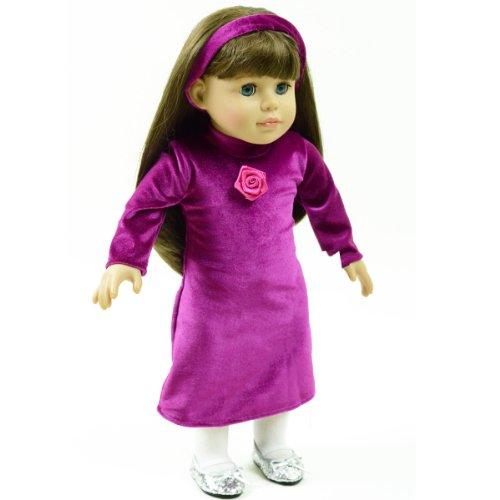 Purple Velvet Holiday Dress with Matching Velvet Headband - Fits American Girls - 1