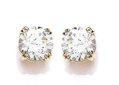 Yellow Gold Cubic Zirconia Round Stud Earrings Made With Swarovski Elements