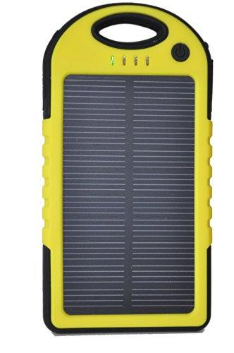Sunnice® Weatherproof Solar Phone Charger. External Battery Pack for Iphone, Android, Galaxy, Ipod. Portable Phone Charger with High Capacity Power Bank (5.000 Mah). This Portable Cell Phone Charger Is Water-resistant, Dustproof and Shockproof. Great for Outdoor Use (Boating, Hiking, Camping, Beach). The Power Bank Can Be Charged Via the Solar Panel or Through an External Power Source (Usb Ac Adapter). You May Also Use It As an Ipad Solar Charger or Power Bank. (Yellow)