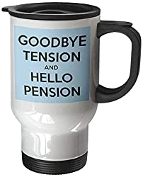 3dRose tm_193430_1 Goodbye Tension and Hello Pension Blue and Black Stainless Steel Travel Mug, 14-Ounce, White