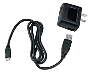 Motorola USB Wall Charger with Micro USB Data Cable - Bulk Packaging (Black)