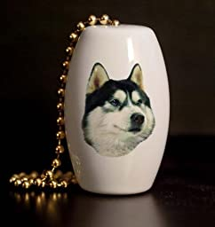 Siberian Husky Porcelain Fan / Light Pull