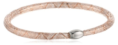 14K Two-Tone Rose And Gold Italian Stretchable Sparkle Tube Stackable Bangle Bracelet, 7.25""