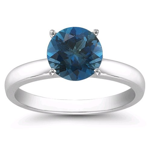 1.25 Carats 7mm Blue Topaz Gemstone Solitaire