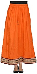 Madhu Art Women's Cotton Long Skirt (Orange)