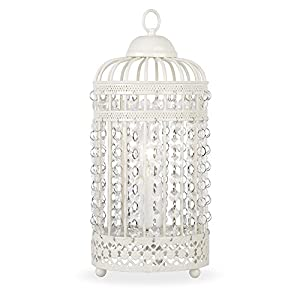 Ornate Metal Framed Birdcage Table Lamp With Jewel Droplets Light Shade from MiniSun