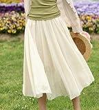 女子力ぷらす フレアスカート シフォンドレス (白色)