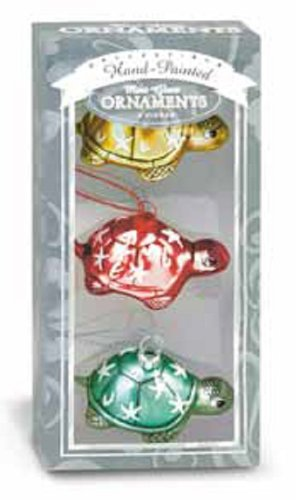 Island Heritage 3-Pack Honu Family Tree Collectible Glass Ornaments, Mini