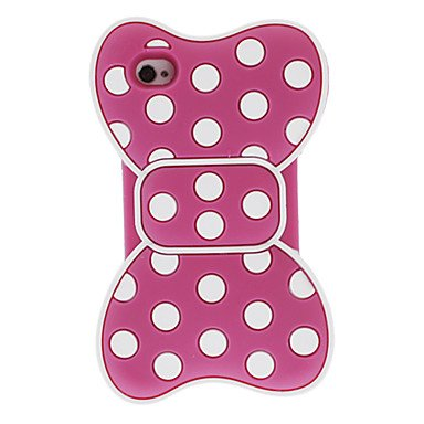 Zlxusa (Tm) 3D White Round Dots Bowknot Style Silica Soft Case For Iphone 4/4S Rose
