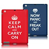 """APPLE IPAD 2 """"KEEP CALM AND CARRY ON"""" AND """"NOW PANIC AND FREAK OUT"""" 2 CASE SET PART OF THE QUBITS ACCESSORIES RANGEby Qubits"""