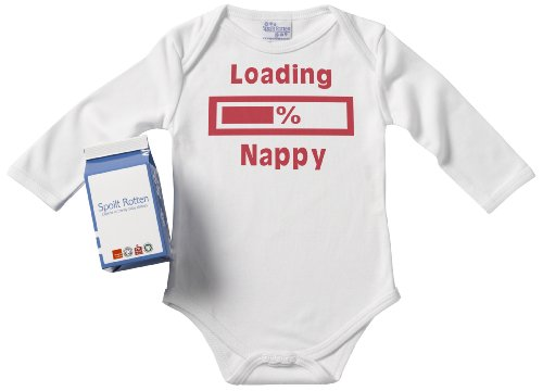 Spoilt Rotten - Loading Nappy Long Sleeve Babygrows / Bodysuit Alternative Baby Clothes 100% Organic Sizes 0-6 months + in funky Milk Carton WHITE