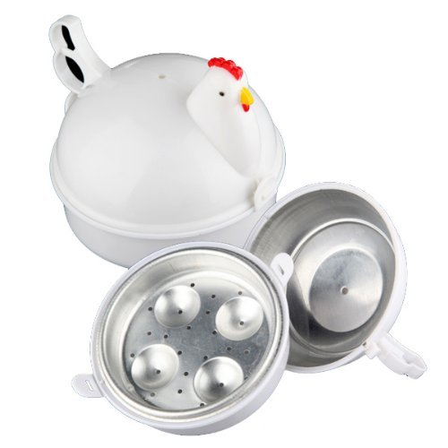 Water & Wood Chicken Shaped Egg Poacher Plastic Microwave Boiler Cooker For 4 Eggs Kitchen