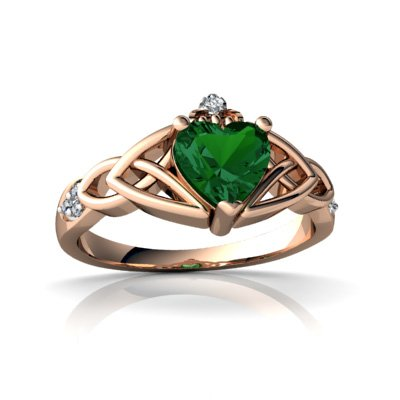Created Emerald 14ct Rose Gold Celtic Claddagh Knot Ring