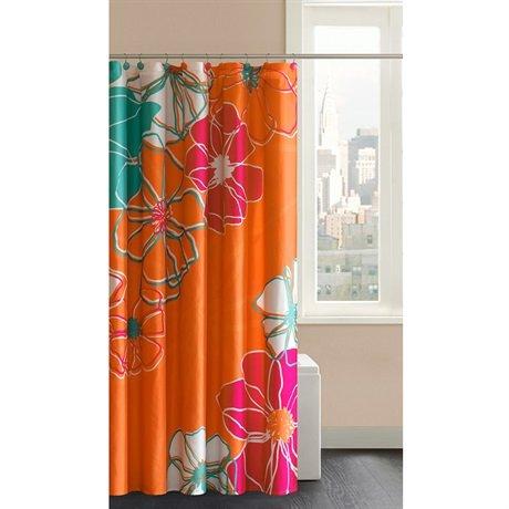Madison Park Valencia Shower Curtain With Hooks   Orange   72x72