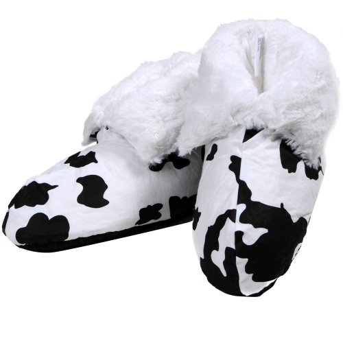 Ladies Cow Print Furry Lined Bootee Slipper M UK 5/6