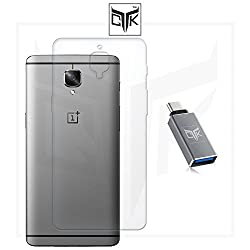 """TGKâ""""¢ Combo for OnePlus 3 (Combo of 1 Back Cover + 1 OTG Adapter) - TGKâ""""¢ Ultra Clear Thin Soft TPU Transparent Back Cover + USB Type-C To USB 3.0 / 2.0 OTG Adapter"""