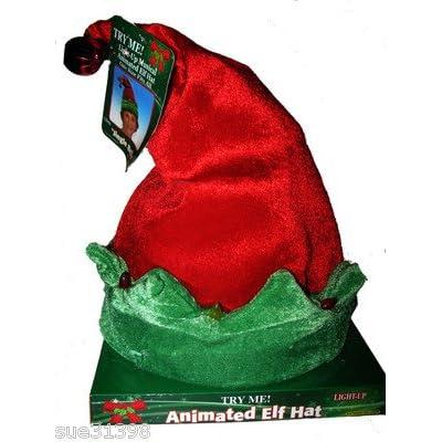 Dee Christmas Musical Lighted Animated Elf Santa Hat - Christmas Decor