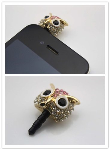 Nine States Crystal Bling Rhinestone Cute Owl 3.5Mm Headphone Jack Anti Dust Plug Ear Cap For Iphone 5,4,4S,Ipad ,Ipod Touch ,Samsung Galaxy S3 S4 Note 2 Note2,Htc,Blackberry And Other Cellphone White + Pink